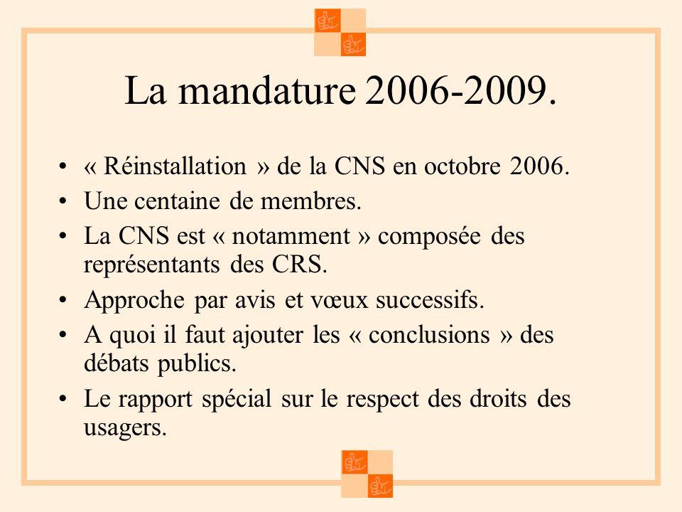 La mandature 2006-2009. « Réinstallation » de la CNS en octobre 2006. Une centaine de membres. La CNS est « notamment » composée des représentants des