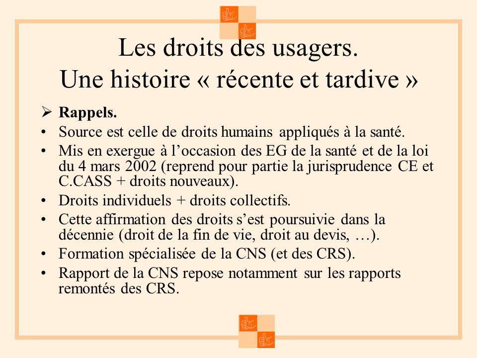 Les droits des usagers. Une histoire « récente et tardive » Rappels. Source est celle de droits humains appliqués à la santé. Mis en exergue à loccasi