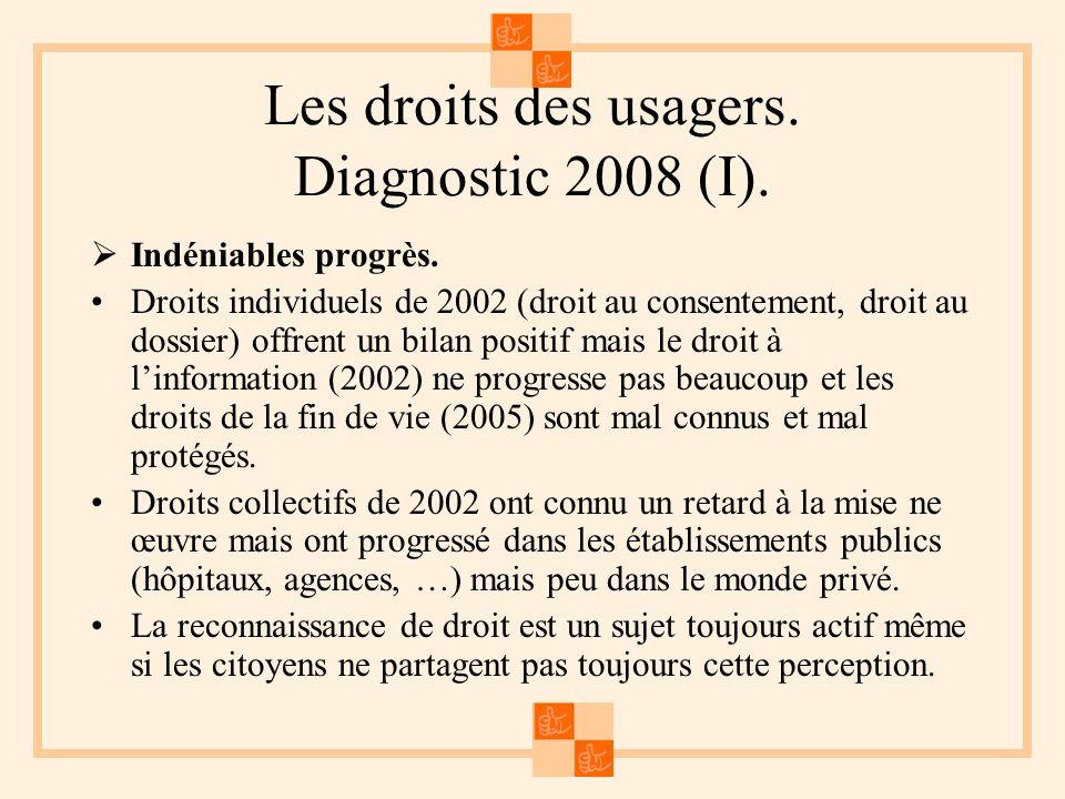 Les droits des usagers. Diagnostic 2008 (I). Indéniables progrès. Droits individuels de 2002 (droit au consentement, droit au dossier) offrent un bila