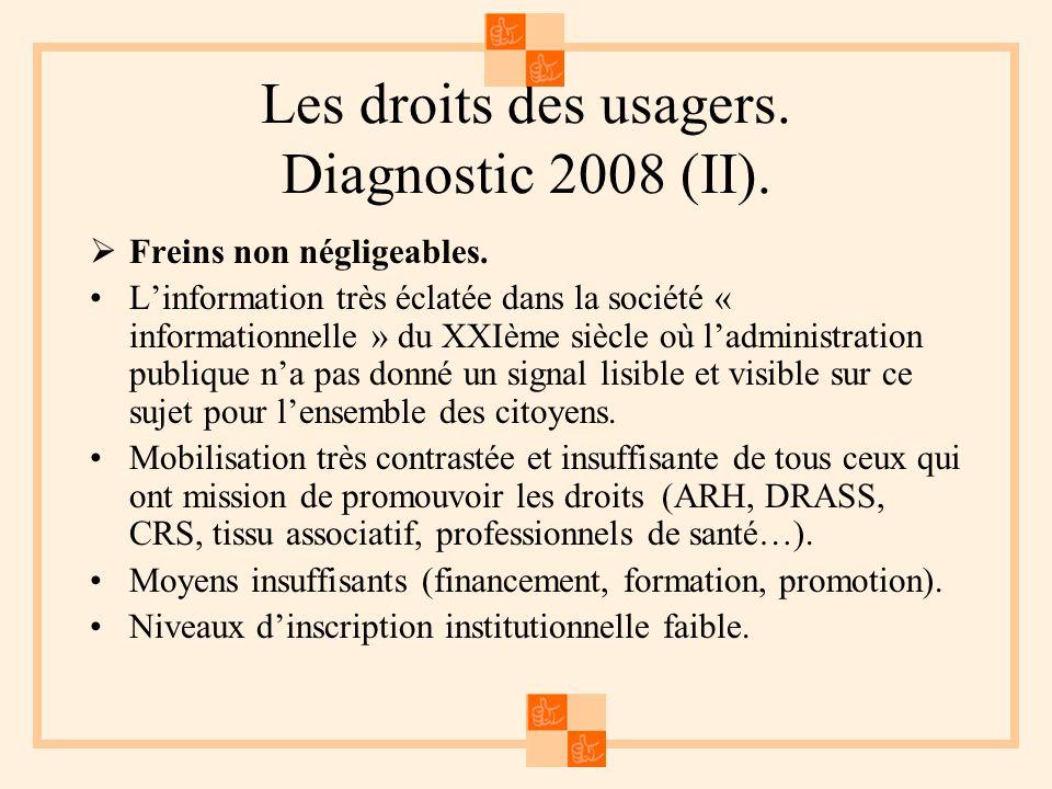 Les droits des usagers. Diagnostic 2008 (II). Freins non négligeables.