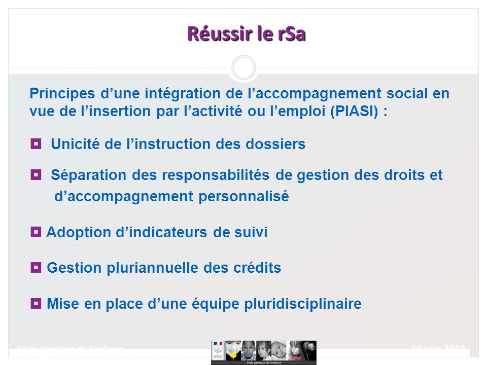 16 juin 2010 Etats généraux de lenfance Prise en compte des situations de précarité Réussir le rSa Réussir le rSa Principes dune intégration de laccom