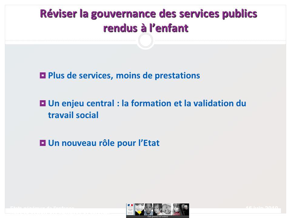 16 juin 2010 Etats généraux de lenfance Prise en compte des situations de précarité Plus de services, moins de prestations Un enjeu central : la forma