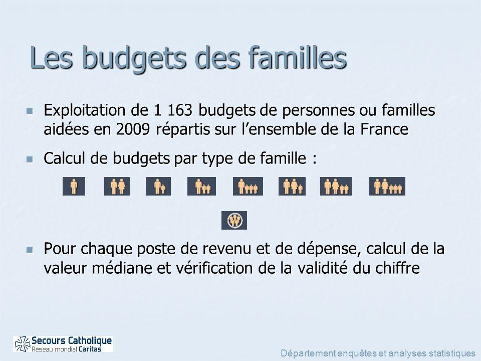 Département enquêtes et analyses statistiques Les budgets des familles Exploitation de 1 163 budgets de personnes ou familles aidées en 2009 répartis
