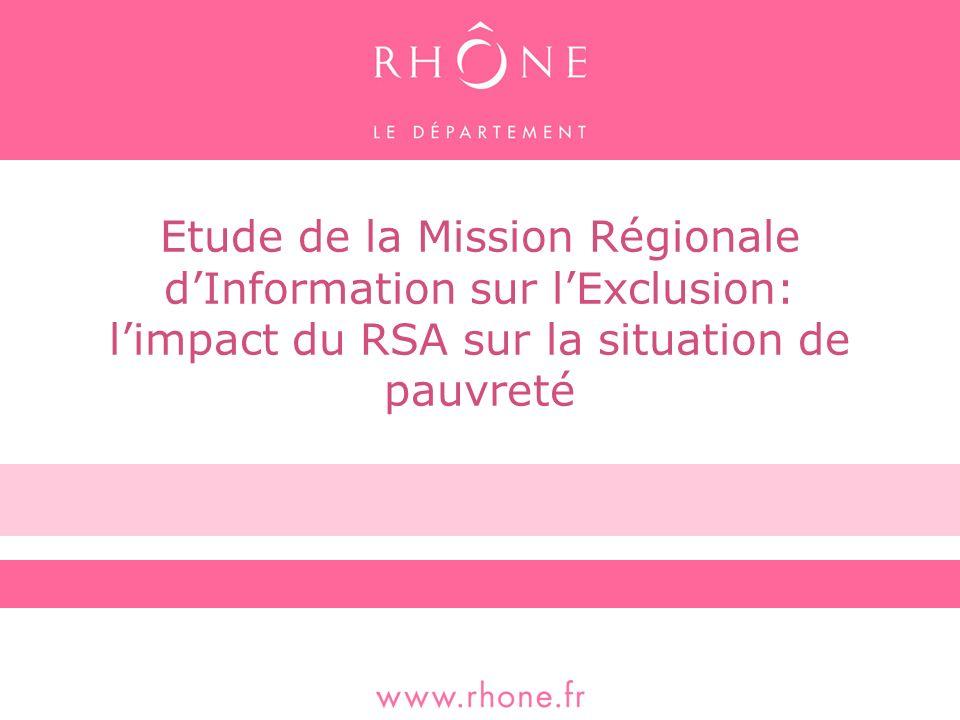 Etude de la Mission Régionale dInformation sur lExclusion: limpact du RSA sur la situation de pauvreté