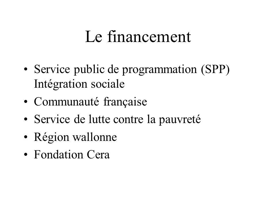 Le financement Service public de programmation (SPP) Intégration sociale Communauté française Service de lutte contre la pauvreté Région wallonne Fondation Cera