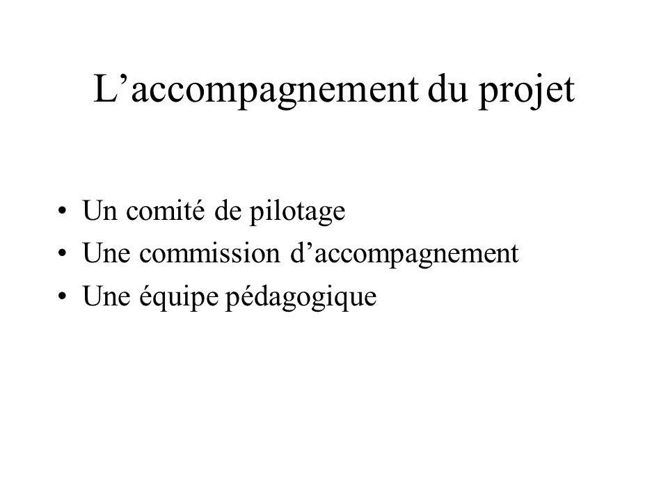 Laccompagnement du projet Un comité de pilotage Une commission daccompagnement Une équipe pédagogique