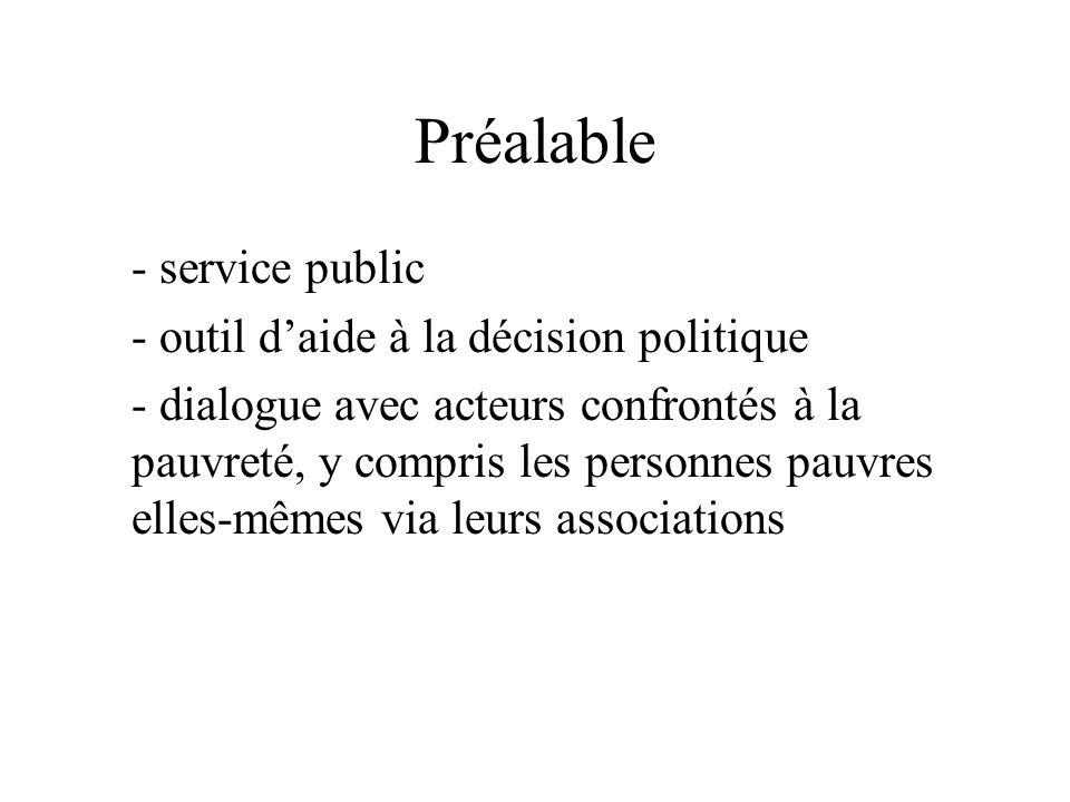 Préalable - service public - outil daide à la décision politique - dialogue avec acteurs confrontés à la pauvreté, y compris les personnes pauvres elles-mêmes via leurs associations