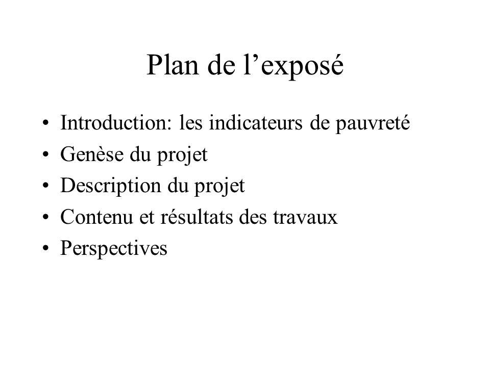 Plan de lexposé Introduction: les indicateurs de pauvreté Genèse du projet Description du projet Contenu et résultats des travaux Perspectives