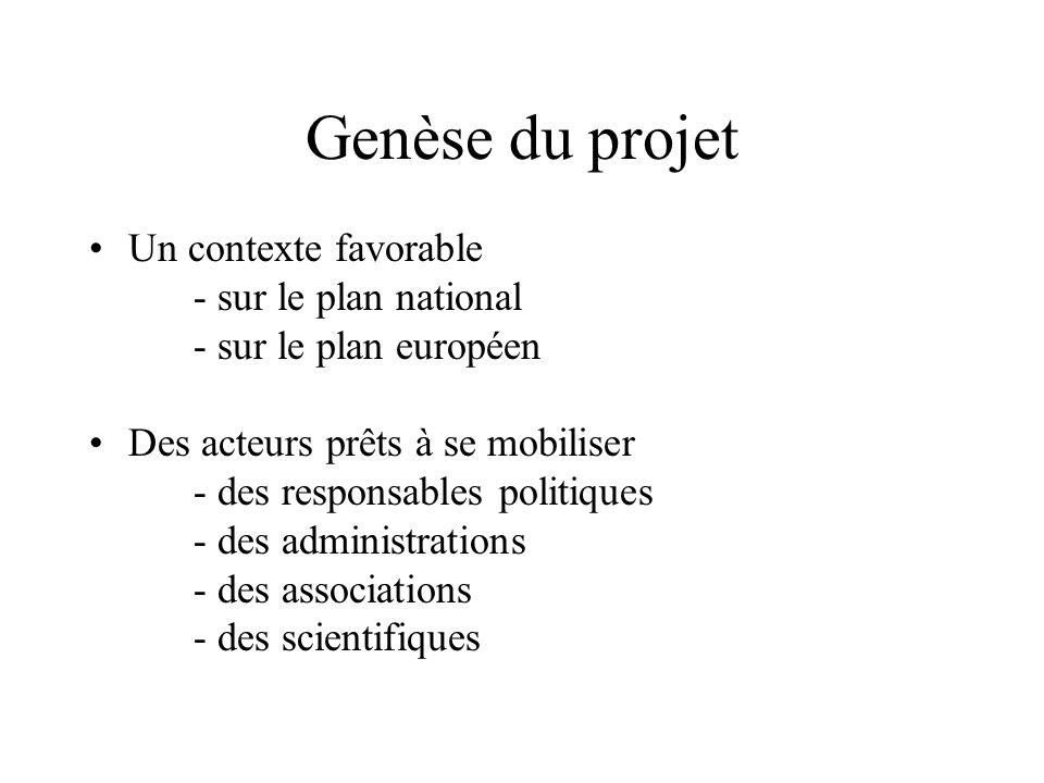 Genèse du projet Un contexte favorable - sur le plan national - sur le plan européen Des acteurs prêts à se mobiliser - des responsables politiques - des administrations - des associations - des scientifiques