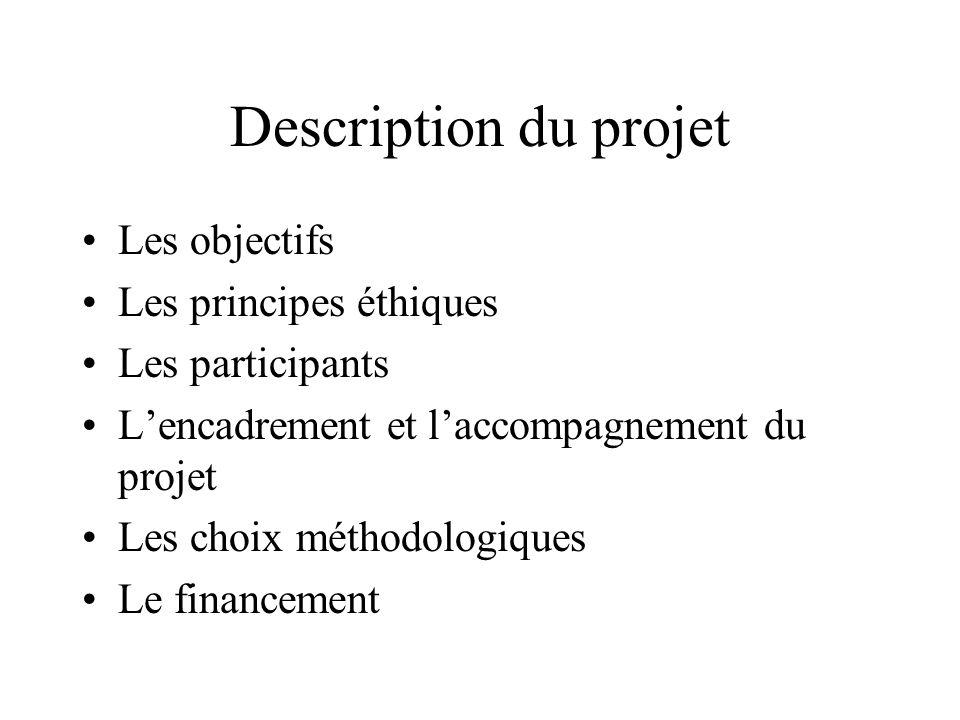 Description du projet Les objectifs Les principes éthiques Les participants Lencadrement et laccompagnement du projet Les choix méthodologiques Le financement