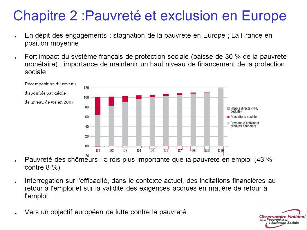 Chapitre 2 :Pauvreté et exclusion en Europe En dépit des engagements : stagnation de la pauvreté en Europe ; La France en position moyenne Fort impact