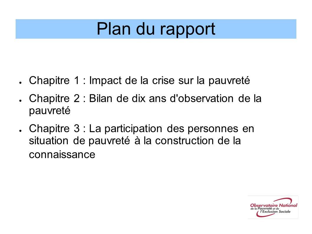 Plan du rapport Chapitre 1 : Impact de la crise sur la pauvreté Chapitre 2 : Bilan de dix ans d'observation de la pauvreté Chapitre 3 : La participati