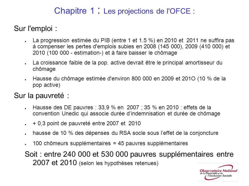 Chapitre 1 : Les projections de l'OFCE : Sur l'emploi : La progression estimée du PIB (entre 1 et 1.5 %) en 2010 et 2011 ne suffira pas à compenser le