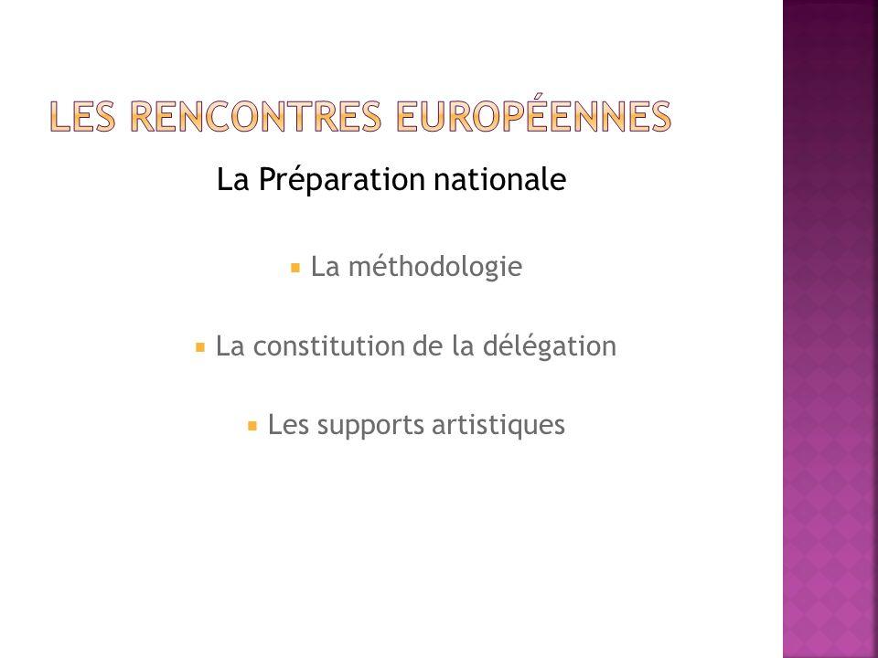 La Préparation nationale La méthodologie La constitution de la délégation Les supports artistiques
