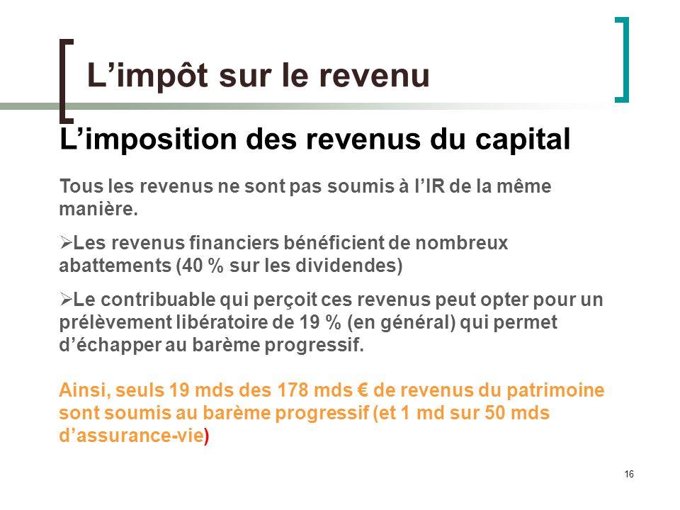 16 Limpôt sur le revenu Limposition des revenus du capital Tous les revenus ne sont pas soumis à lIR de la même manière.