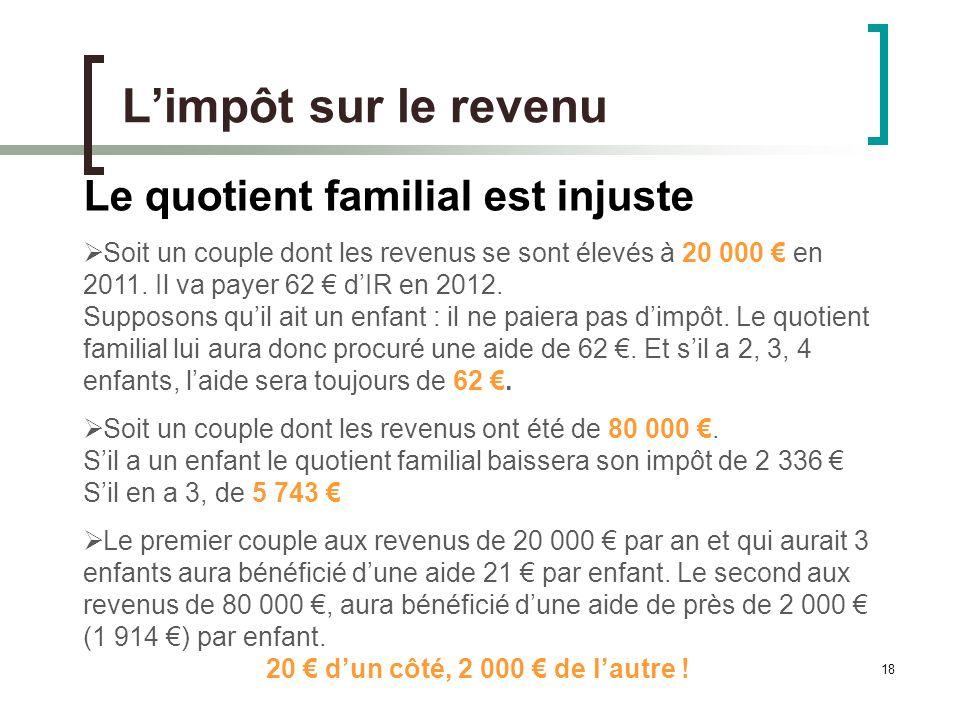 18 Limpôt sur le revenu Le quotient familial est injuste Soit un couple dont les revenus se sont élevés à 20 000 en 2011.