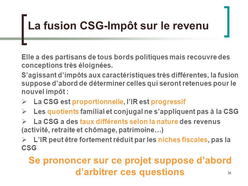 34 La fusion CSG-Impôt sur le revenu Elle a des partisans de tous bords politiques mais recouvre des conceptions très éloignées.