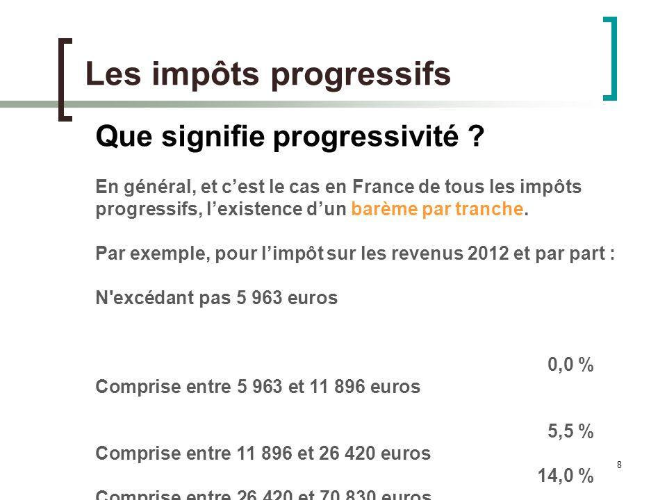 8 Les impôts progressifs Que signifie progressivité .