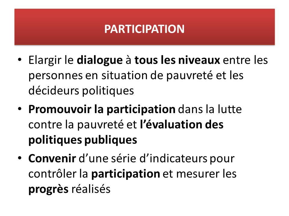 Elargir le dialogue à tous les niveaux entre les personnes en situation de pauvreté et les décideurs politiques Promouvoir la participation dans la lutte contre la pauvreté et lévaluation des politiques publiques Convenir dune série dindicateurs pour contrôler la participation et mesurer les progrès réalisés PARTICIPATION