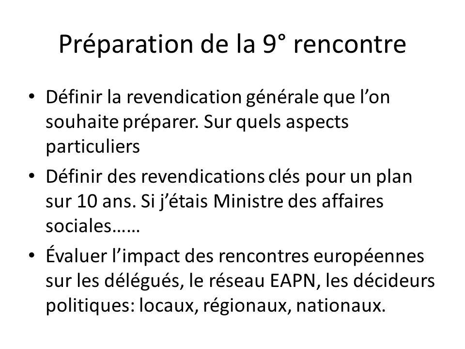 Préparation de la 9°rencontre Constitution du groupe national – délégués des régions – anciens délégués – membres du conseil dadministration dEAPN – membres du CNLE Mise en place dun calendrier de travail.