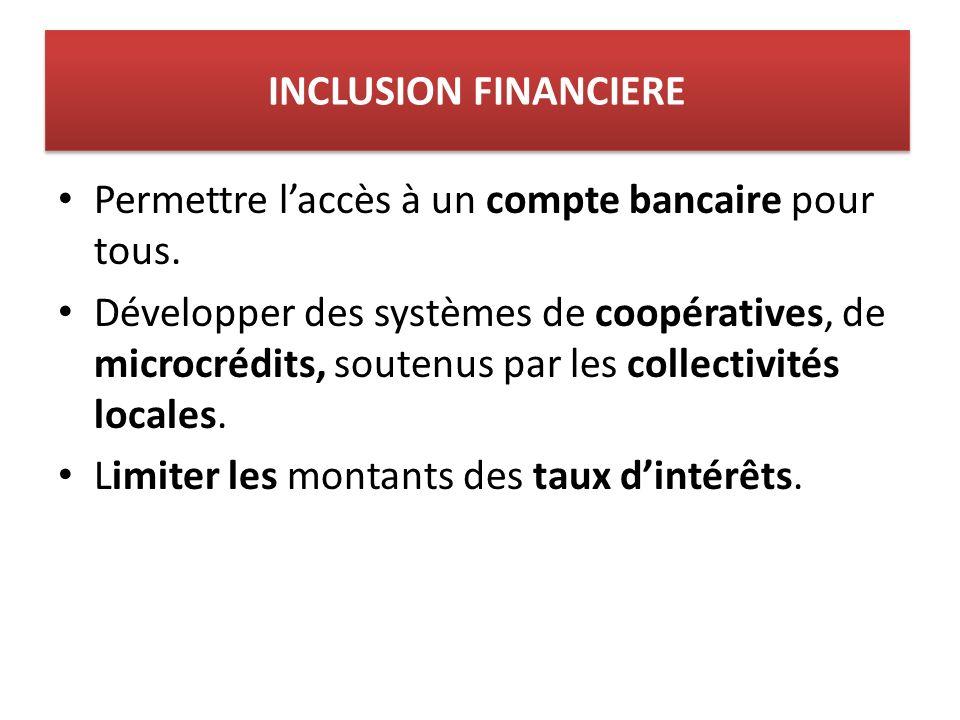 INCLUSION FINANCIERE Permettre laccès à un compte bancaire pour tous.