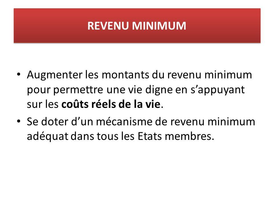 REVENU MINIMUM Augmenter les montants du revenu minimum pour permettre une vie digne en sappuyant sur les coûts réels de la vie.
