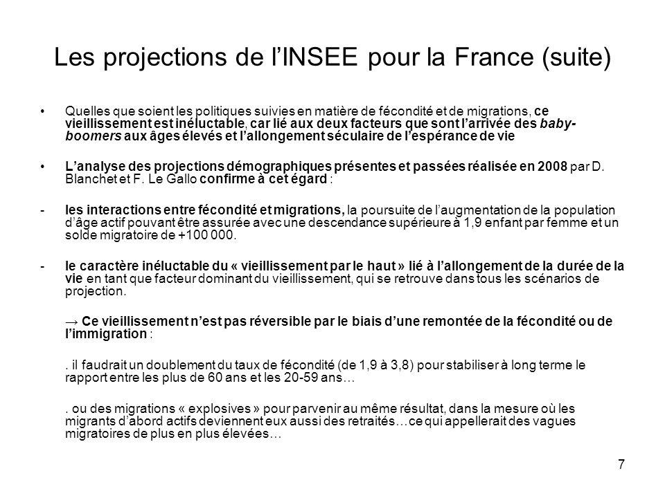 7 Les projections de lINSEE pour la France (suite) Quelles que soient les politiques suivies en matière de fécondité et de migrations, ce vieillissement est inéluctable, car lié aux deux facteurs que sont larrivée des baby- boomers aux âges élevés et lallongement séculaire de lespérance de vie Lanalyse des projections démographiques présentes et passées réalisée en 2008 par D.