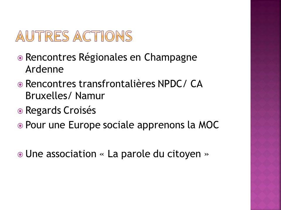 Rencontres Régionales en Champagne Ardenne Rencontres transfrontalières NPDC/ CA Bruxelles/ Namur Regards Croisés Pour une Europe sociale apprenons la
