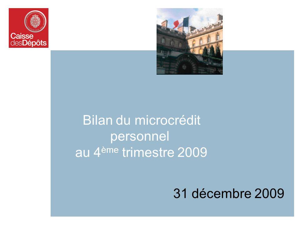Bilan du microcrédit personnel au 4 ème trimestre 2009 31 décembre 2009