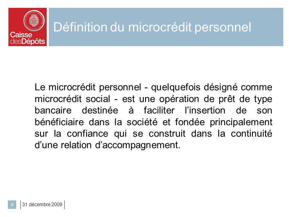 2 Définition du microcrédit personnel Le microcrédit personnel - quelquefois désigné comme microcrédit social - est une opération de prêt de type banc