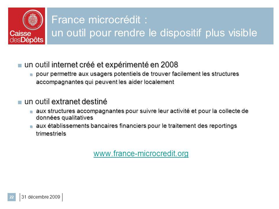 31 décembre 2009 22 France microcrédit : un outil pour rendre le dispositif plus visible internet créé et expérimenté en 2008 un outil internet créé e