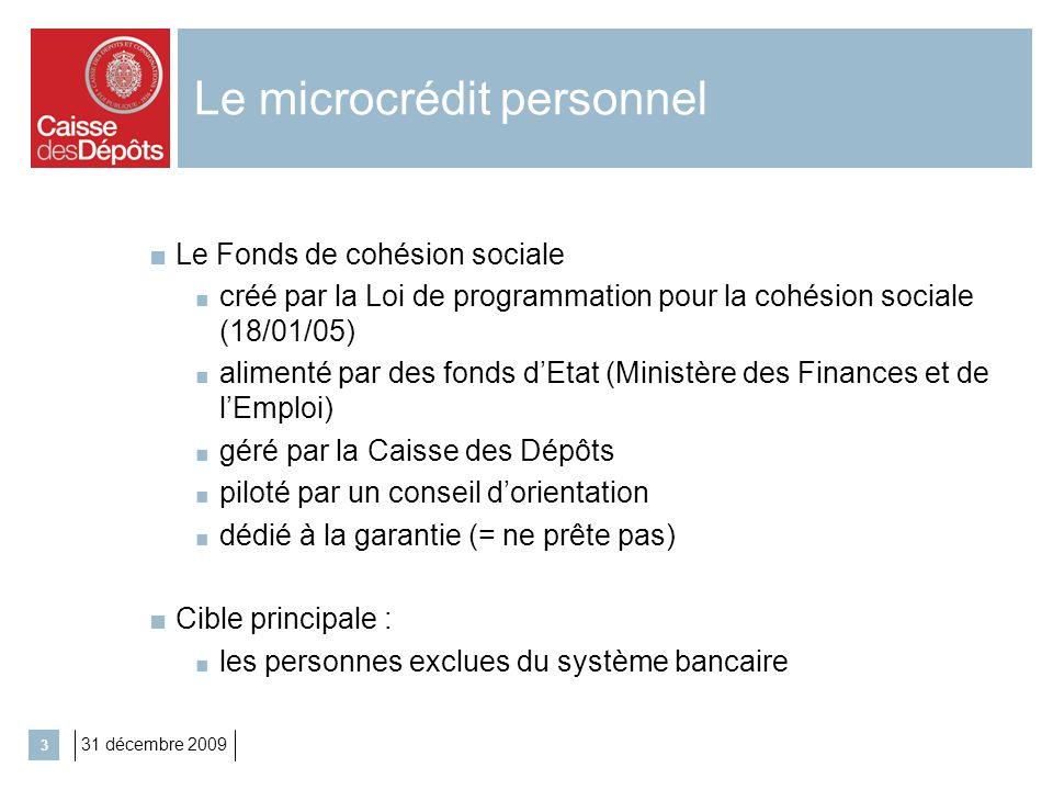 31 décembre 2009 3 Le microcrédit personnel Le Fonds de cohésion sociale créé par la Loi de programmation pour la cohésion sociale (18/01/05) alimenté