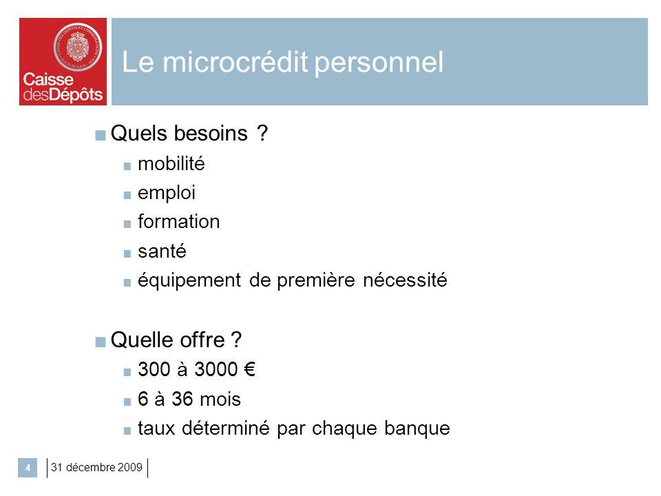 31 décembre 2009 4 Le microcrédit personnel Quels besoins ? mobilité emploi formation santé équipement de première nécessité Quelle offre ? 300 à 3000