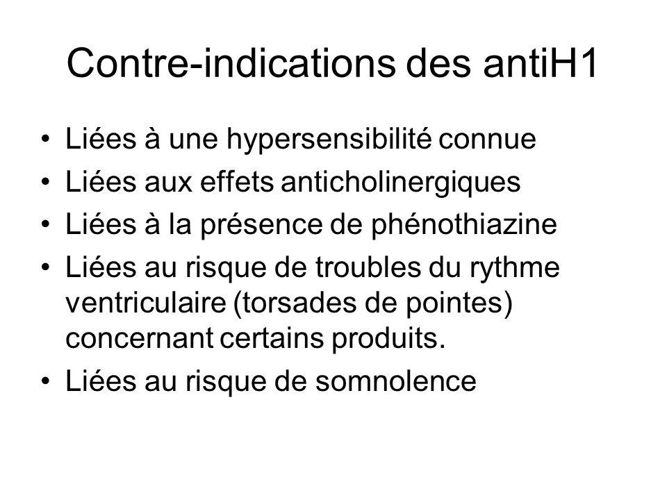 Contre-indications des antiH1 Liées à une hypersensibilité connue Liées aux effets anticholinergiques Liées à la présence de phénothiazine Liées au risque de troubles du rythme ventriculaire (torsades de pointes) concernant certains produits.
