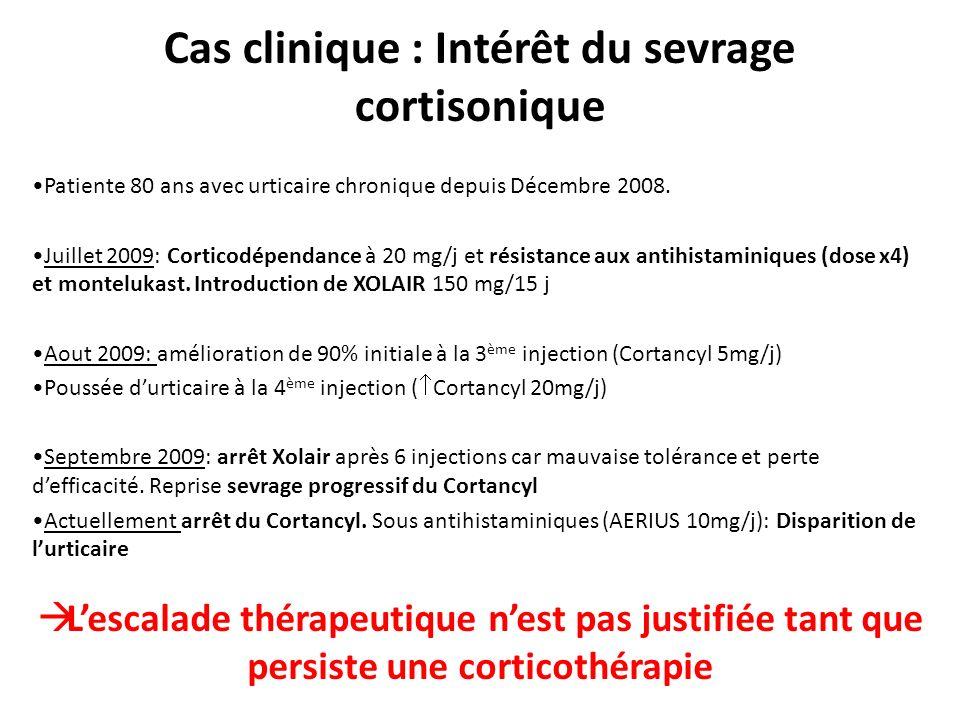 Cas clinique : Intérêt du sevrage cortisonique Patiente 80 ans avec urticaire chronique depuis Décembre 2008. Juillet 2009: Corticodépendance à 20 mg/