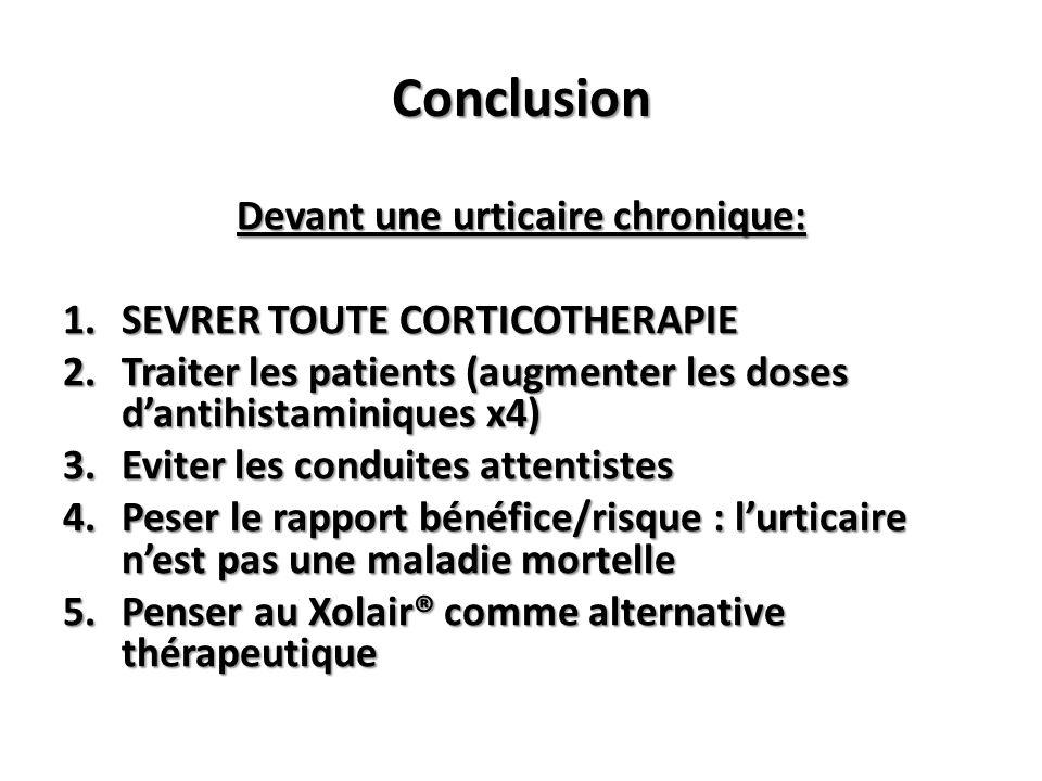 Conclusion Devant une urticaire chronique: 1.SEVRER TOUTE CORTICOTHERAPIE 2.Traiter les patients (augmenter les doses dantihistaminiques x4) 3.Eviter