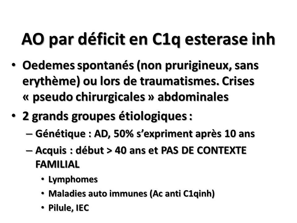 AO par déficit en C1q esterase inh Oedemes spontanés (non prurigineux, sans erythème) ou lors de traumatismes. Crises « pseudo chirurgicales » abdomin