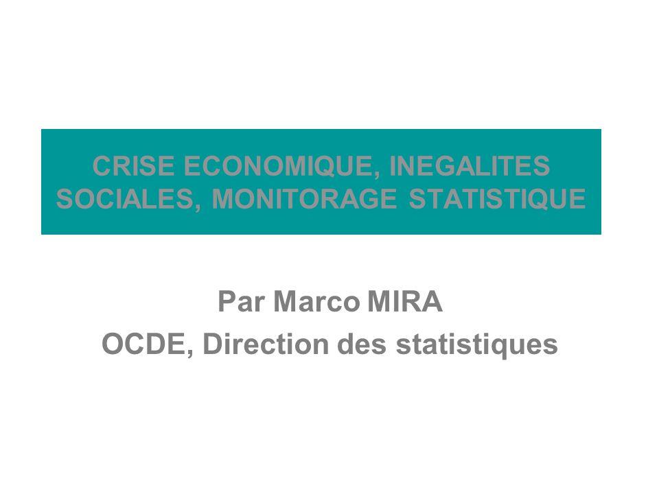 Barcelone, 2009 CRISE ECONOMIQUE, INEGALITES SOCIALES, MONITORAGE STATISTIQUE Par Marco MIRA OCDE, Direction des statistiques
