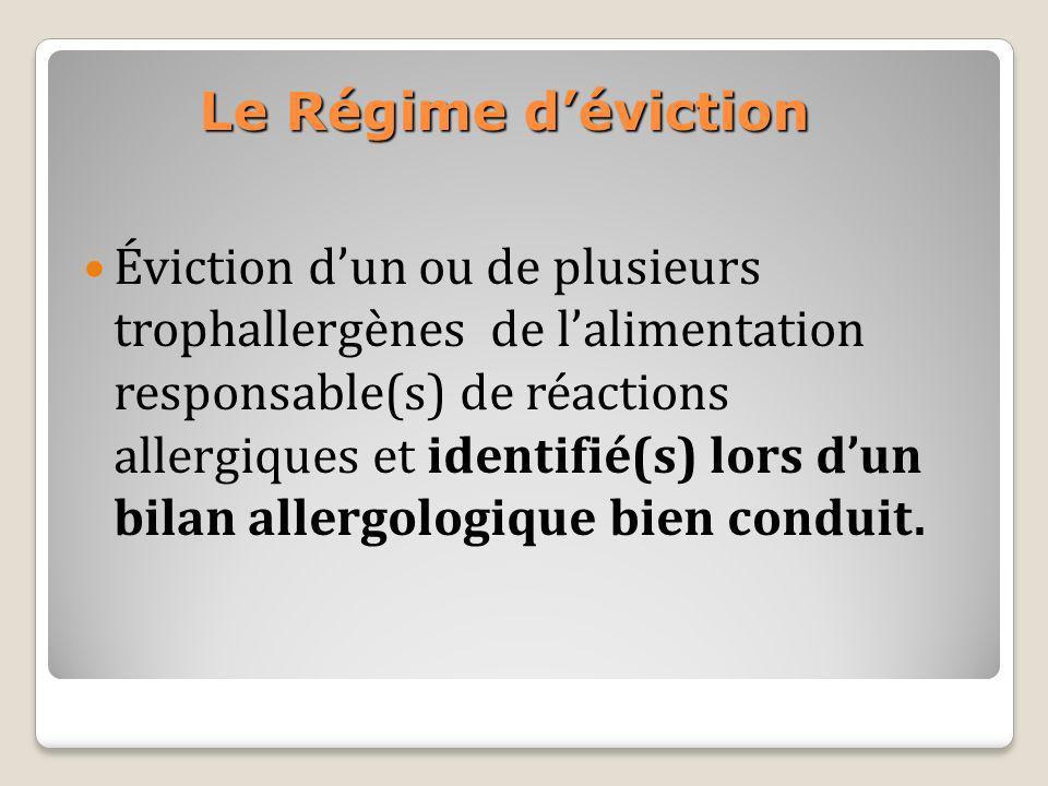 Le Régime déviction Éviction dun ou de plusieurs trophallergènes de lalimentation responsable(s) de réactions allergiques et identifié(s) lors dun bil