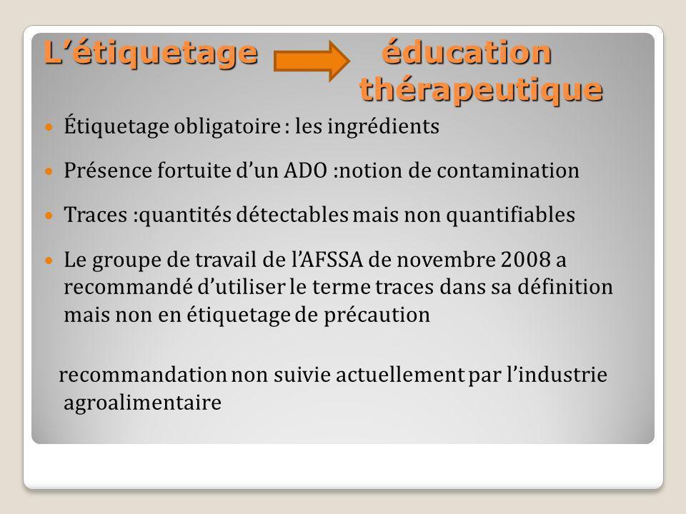 Létiquetage éducation thérapeutique Étiquetage obligatoire : les ingrédients Présence fortuite dun ADO :notion de contamination Traces :quantités déte