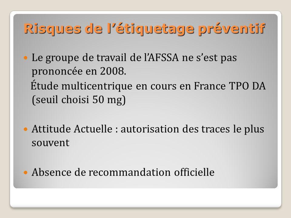 Risques de létiquetage préventif Le groupe de travail de lAFSSA ne sest pas prononcée en 2008. Étude multicentrique en cours en France TPO DA (seuil c