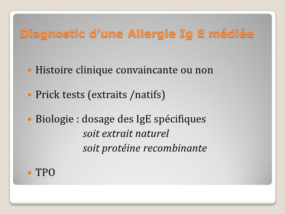 Diagnostic dune Allergie Ig E médiée Histoire clinique convaincante ou non Prick tests (extraits /natifs) Biologie : dosage des IgE spécifiques soit e