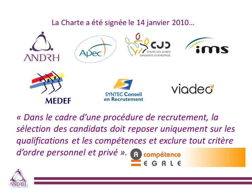 La Charte a été signée le 14 janvier 2010… « Dans le cadre dune procédure de recrutement, la sélection des candidats doit reposer uniquement sur les qualifications et les compétences et exclure tout critère dordre personnel et privé ».