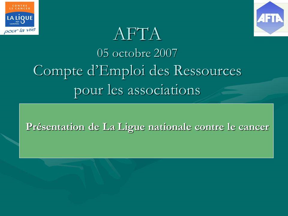 AFTA 05 octobre 2007 Compte dEmploi des Ressources pour les associations Présentation de La Ligue nationale contre le cancer