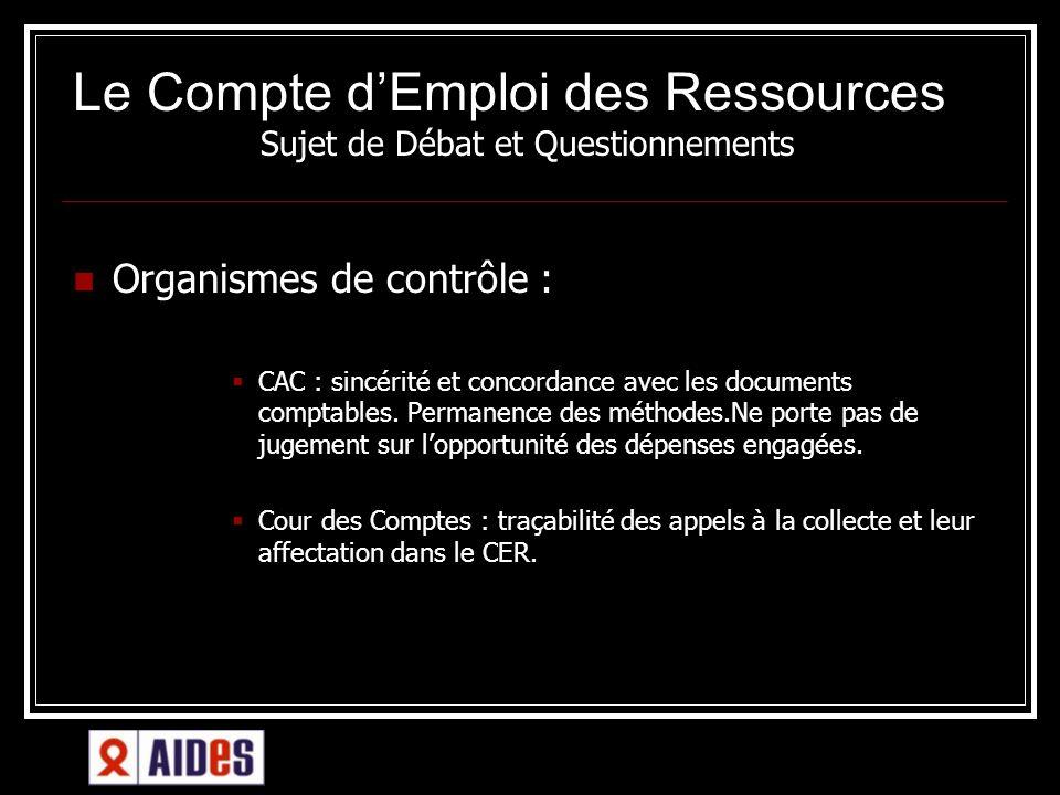 Le Compte dEmploi des Ressources té dans AIDES Sujet de Débat et Questionnements Organismes de contrôle : CAC : sincérité et concordance avec les docu