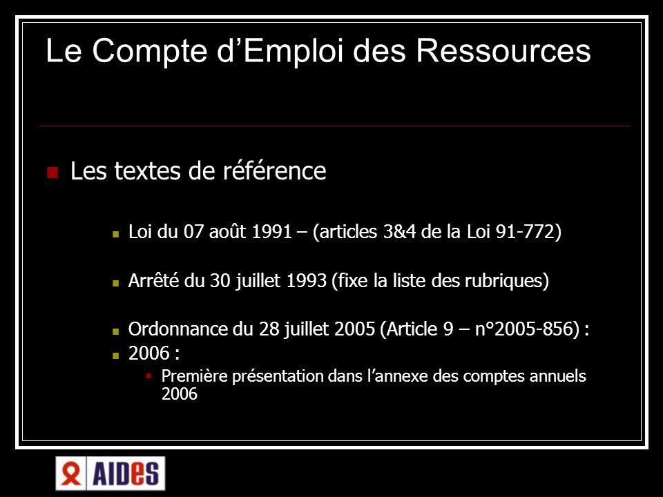 Le Compte dEmploi des Ressources Les textes de référence Loi du 07 août 1991 – (articles 3&4 de la Loi 91-772) Arrêté du 30 juillet 1993 (fixe la list