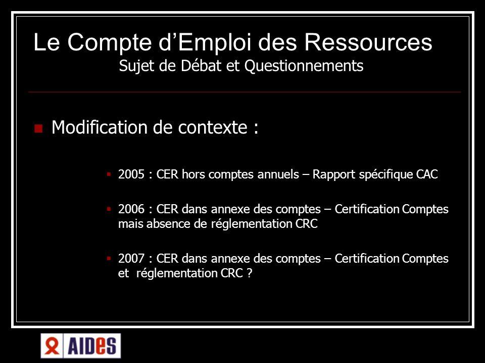 Le Compte dEmploi des Ressources té dans AIDES Sujet de Débat et Questionnements Modification de contexte : 2005 : CER hors comptes annuels – Rapport
