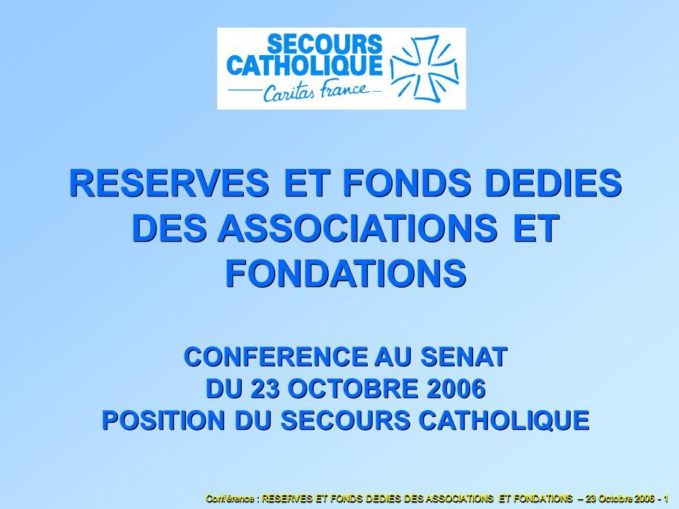 Fonds dédiés et Dettes SOMMAIRE Bilan Fonds propres et Réserves Présentation du Secours Catholique.