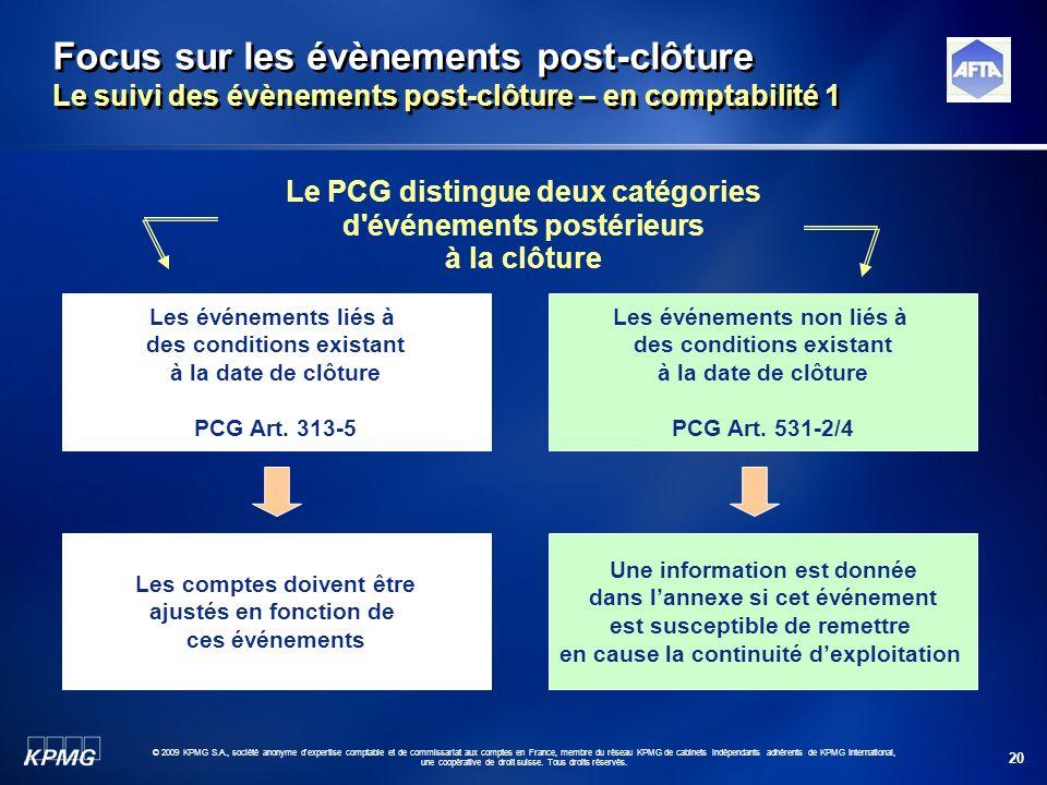 20 © 2009 KPMG S.A., société anonyme d'expertise comptable et de commissariat aux comptes en France, membre du réseau KPMG de cabinets indépendants ad