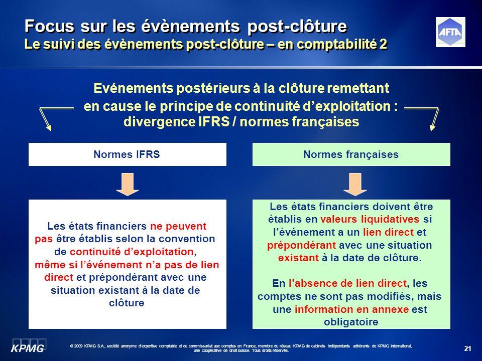21 © 2009 KPMG S.A., société anonyme d'expertise comptable et de commissariat aux comptes en France, membre du réseau KPMG de cabinets indépendants ad